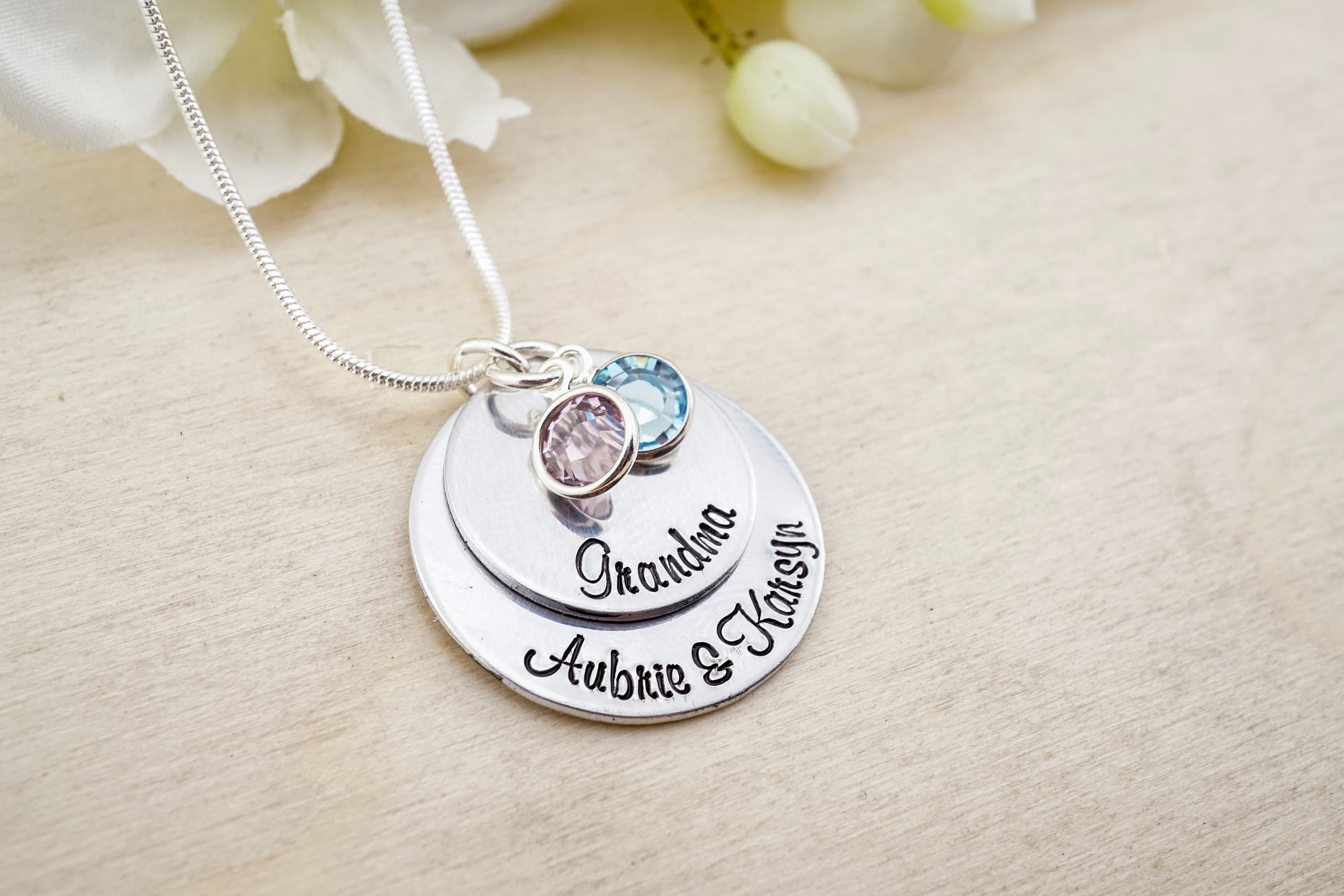 kids pendants handmade dp stamped and initial necklace for birthstone grandkid com with tdwlv or grandma grandkids amazon hand charms