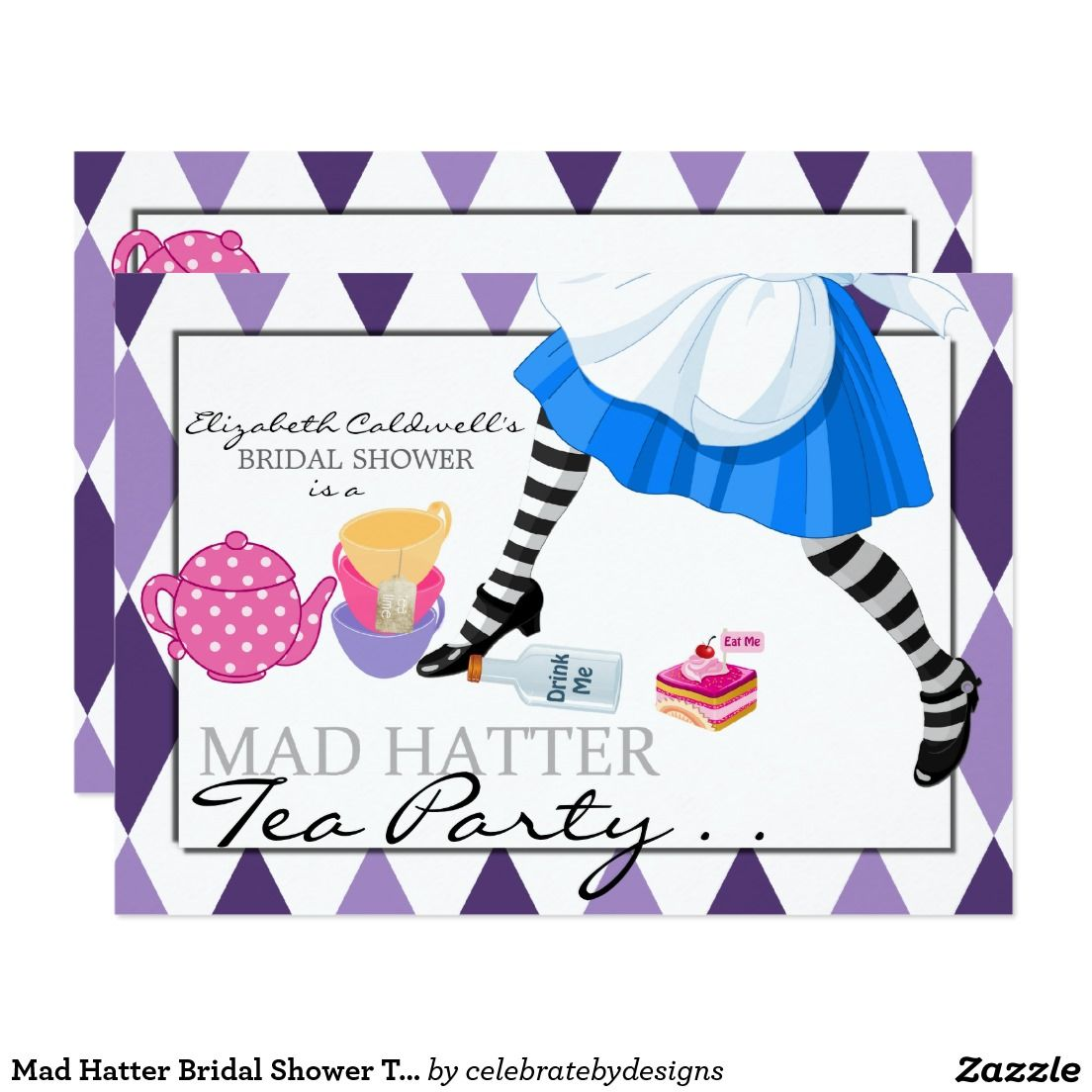 Mad Hatter Bridal Shower Tea Party Invitation | Bridal shower tea ...
