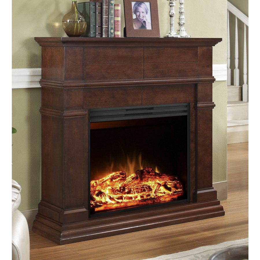 Lowes Electric Fireplaces Style Selections 44 In Mahogany Flat Wall Electric Fireplace Electric Fireplace Lowes Electric Fireplace Electric Fireplace Decor