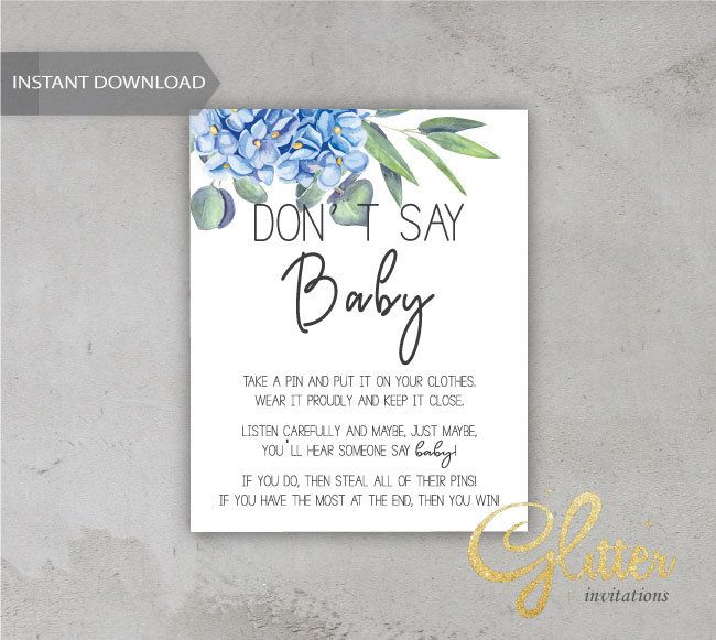 Greenery boy baby shower, Printable Diaper Pin, Clothes Pin Game, Printable girl Dont Say Baby, cy039