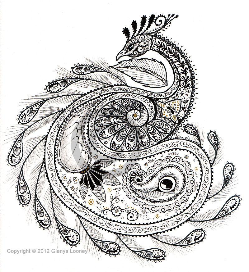 Zentangle - Paisley Peacock, © Glenys Looney. Paisleys and Peacocks ...