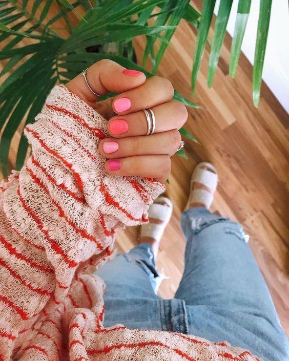 Unas Cortas En Colores Rosados Summer Nails Colors Summer Nails Cute Nails