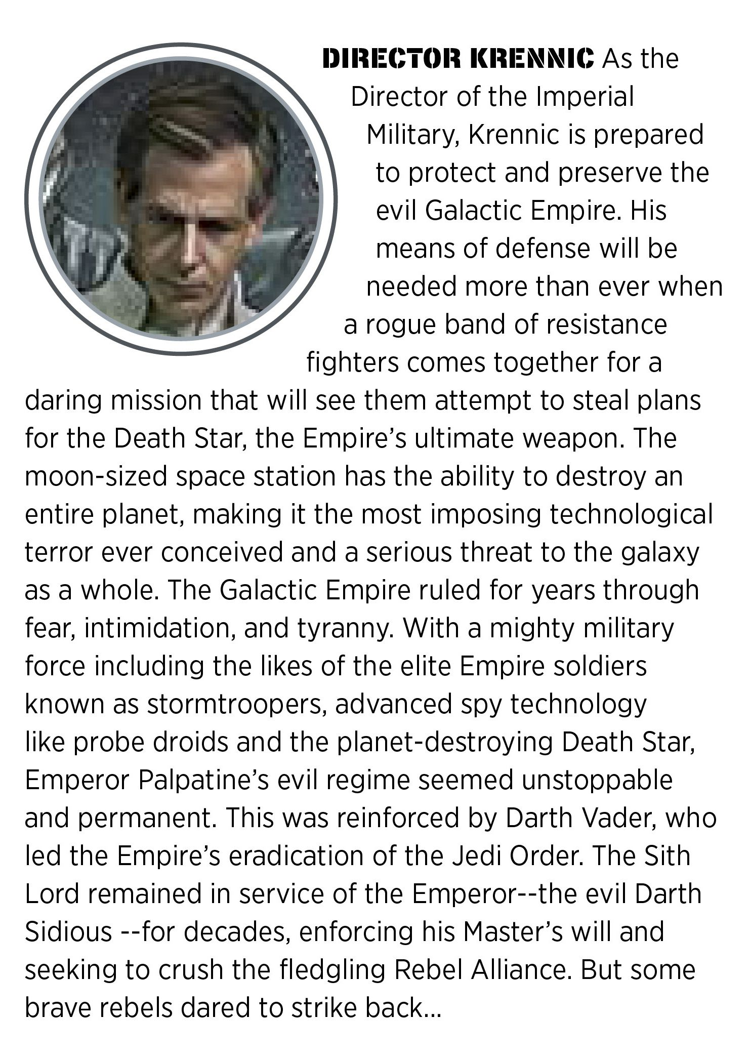 Star Wars Rogue One - Director Krennic (Ben Mendelsohn) from the Visual Dictionary