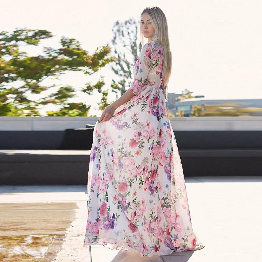 Women maternity clothes women floral printing sleeve long maxi