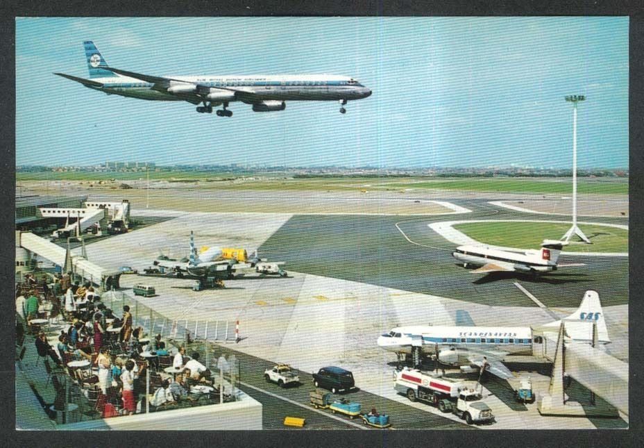 """KLM Royal Dutch Airlines DC-8 landing Airport Schiphol Amsterdam postcard 1960s ~  Continental-size postcard. Approx. 4"""" x 6"""". Unwritten, undated, unstamped, unmailed."""