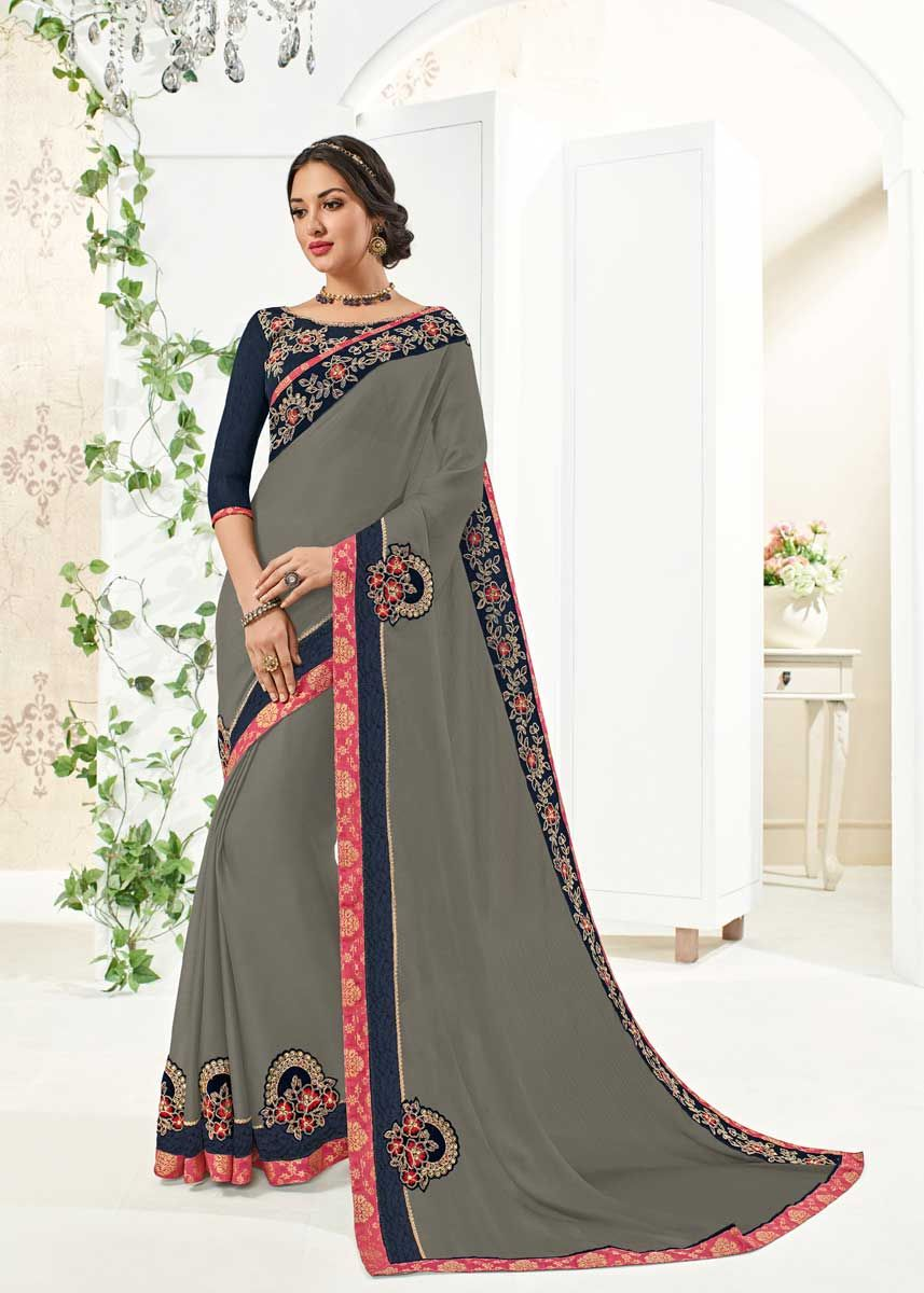 6aeb5d1b465883 Show your elegance by wearing this Fancy Grey Color Floral Embrodered Moss Chiffon  Saree. Ideal for party, festive & social gatherings.