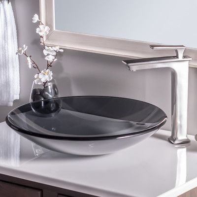 Novatto Low Profile Glass Circular Vessel Bathroom Sink Sink