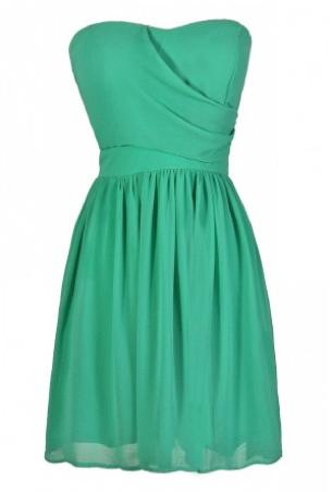 Fully Lined Chiffon Green Dress   Mr Heart Mrs