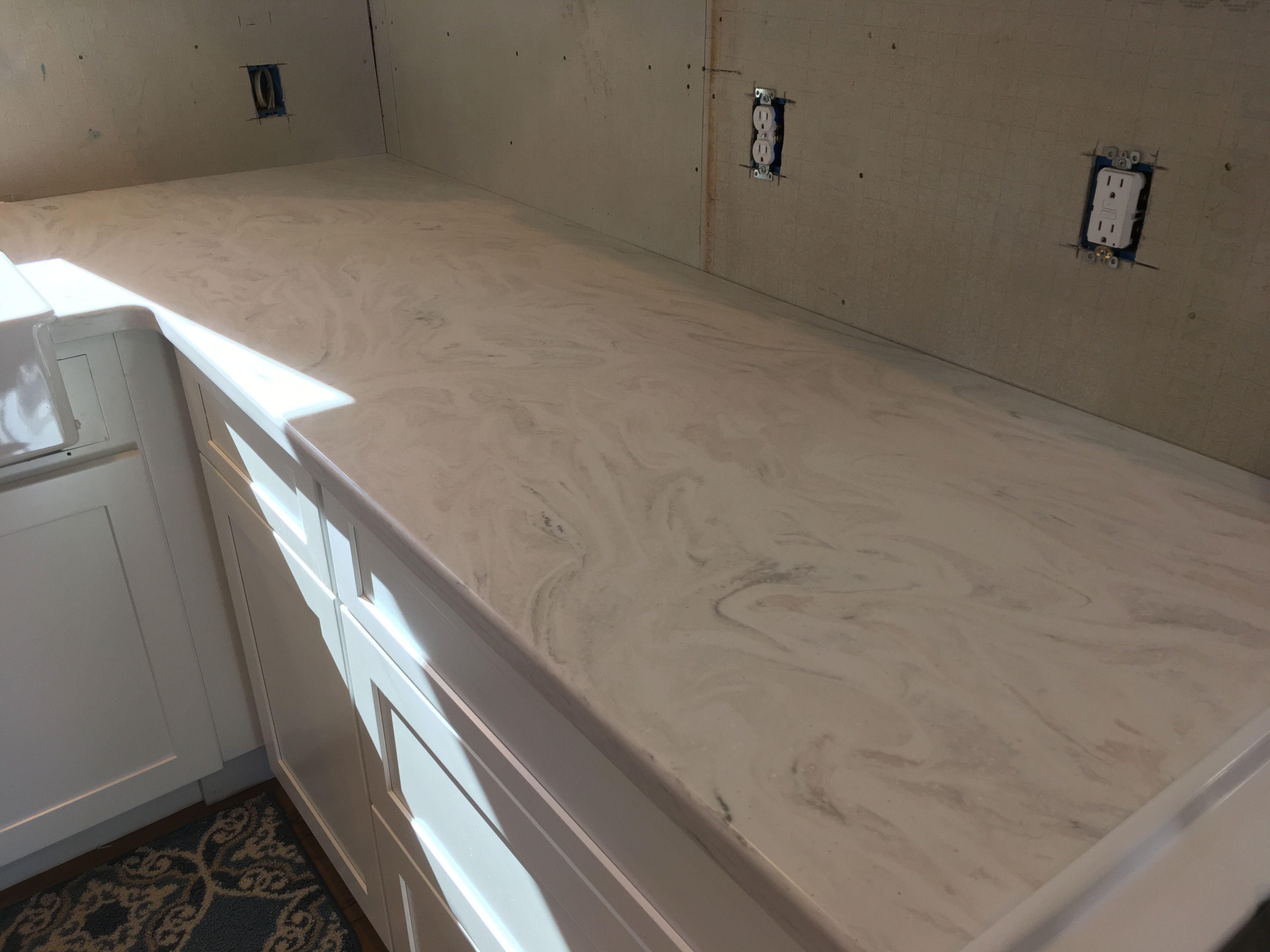Corian Kitchen Countertops Backslash In Limestone Prima Remodel Pinterest