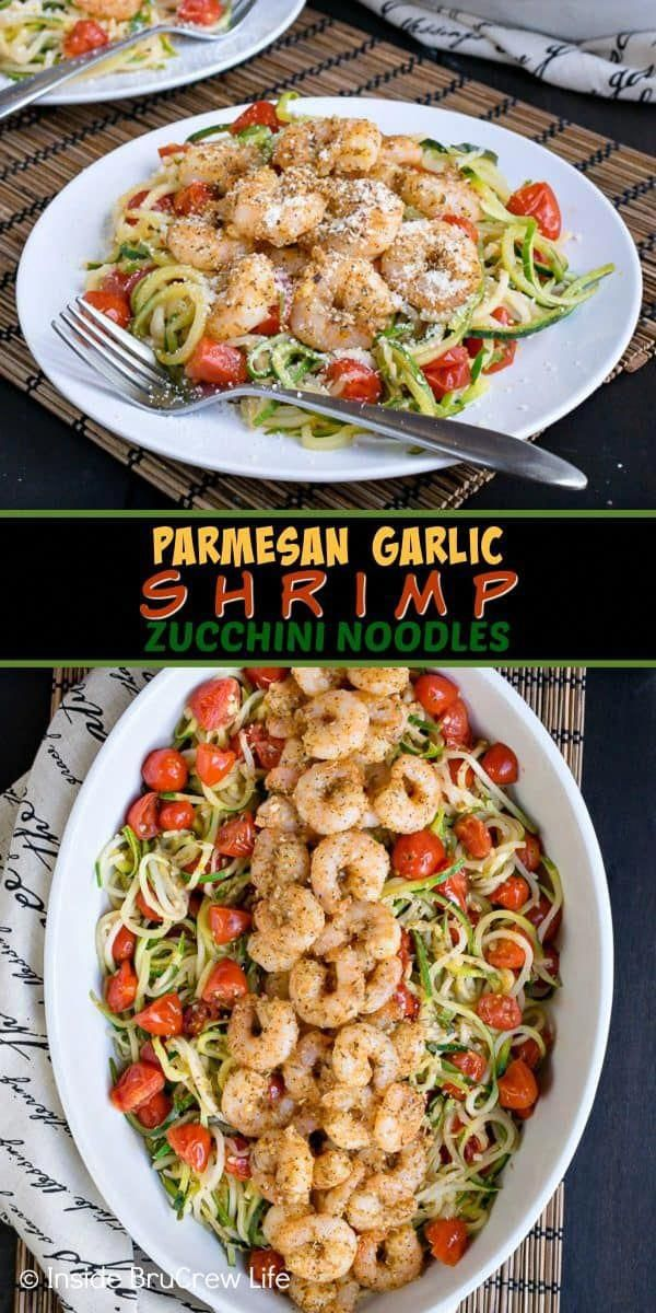 Parmesan Garlic Shrimp Zucchini Noodles  this easy dinner is loaded with zucchini noodles tomatoes and baked shrimp Great lean and green option when you are eating health...