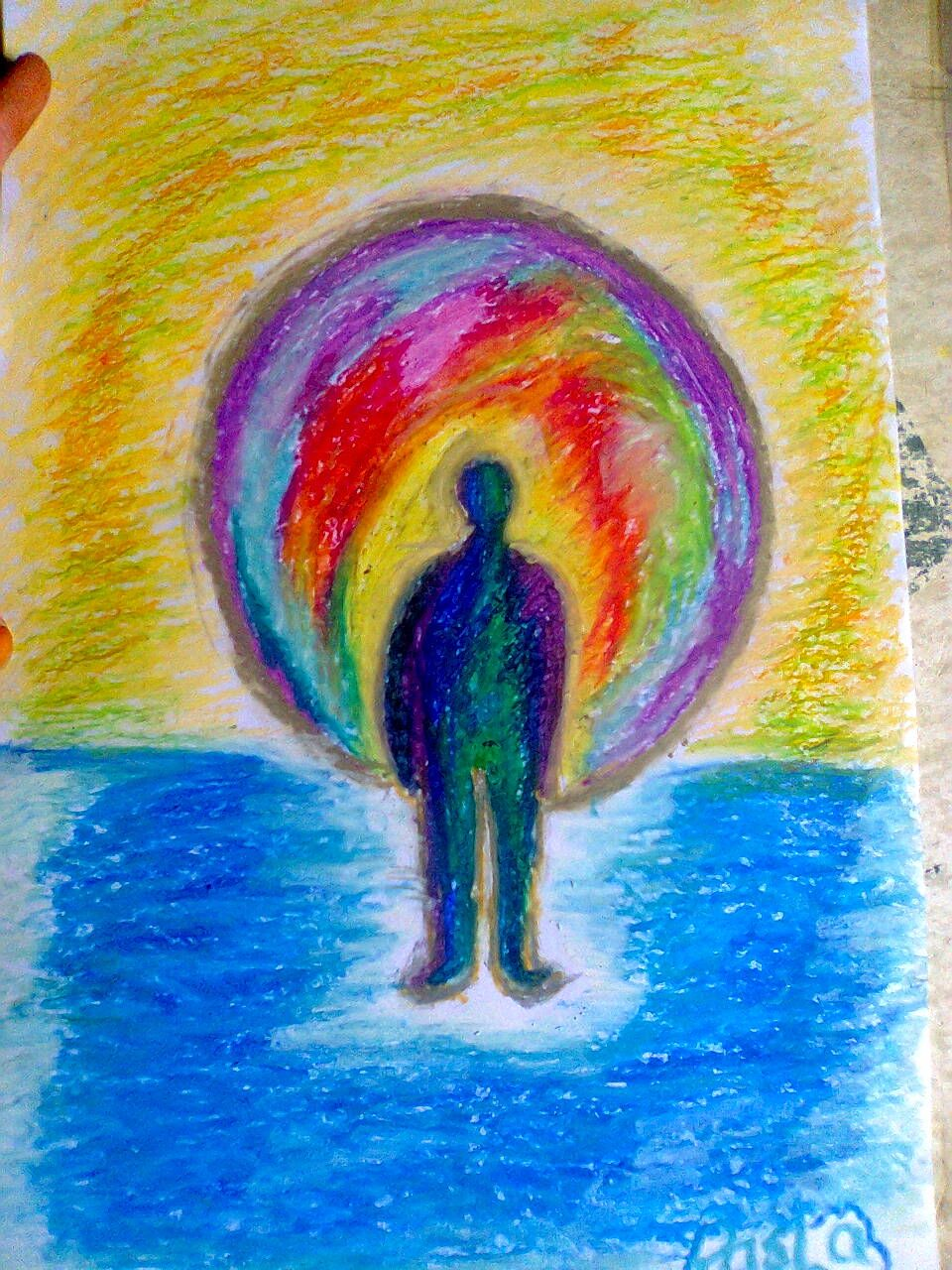 "A crayon sketch depicting the character from my poem - ""He Is From Another Star"""