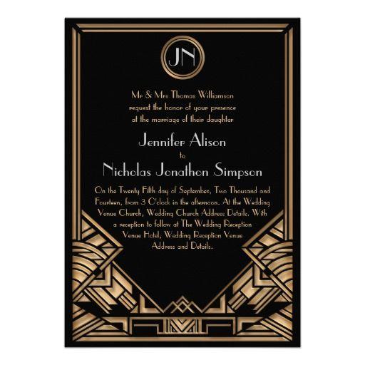 Black Gold Art Deco Gatsby Style Wedding Invites Pretty Paper