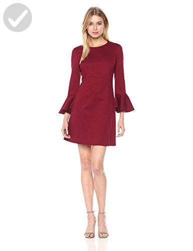 Trina Turk Women's Panache Ponte Bell Sleeve Dress, Currant, 6 - All about women (*Amazon Partner-Link)