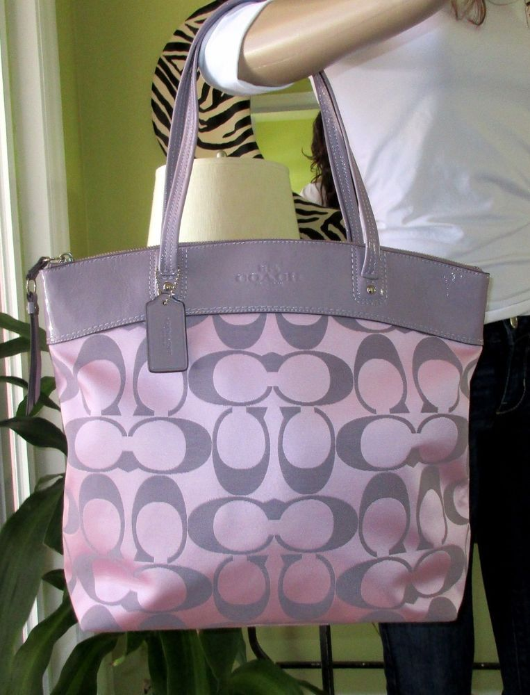 coach bag black and gray pm6x  NWT COACH RARE SIGNATURE SATIN LIGHT PURPLE LEATHER SHOULDER BAG TOTE PURSE   Clothing, Shoes & Accessories, Women's Handbags & Bags, Handbags & Purses