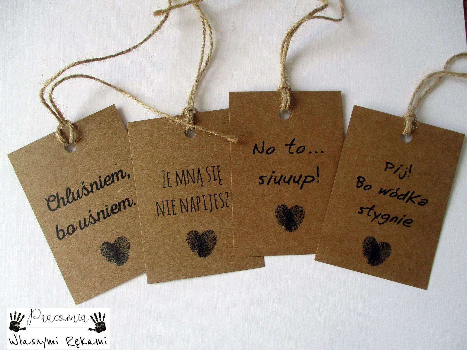 Zawieszki Na Alkohol Eko Rustykalne Rozne Wz 2szt 7112340150 Oficjalne Archiwum Allegro Rustic Wedding Wedding Decorations Wedding Day