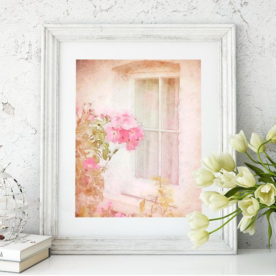 #ShabbyChic #CottageArt #CottageWindow Cottage Window watercolor fine art print rustic french home