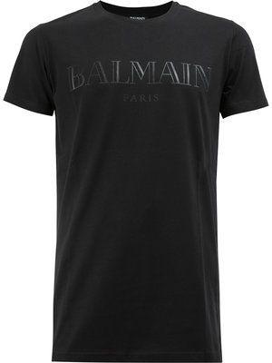 b87fa8f3d6 Balmain Logo Print T-shirt - Farfetch | T shirt in 2019 | Shirts, T ...