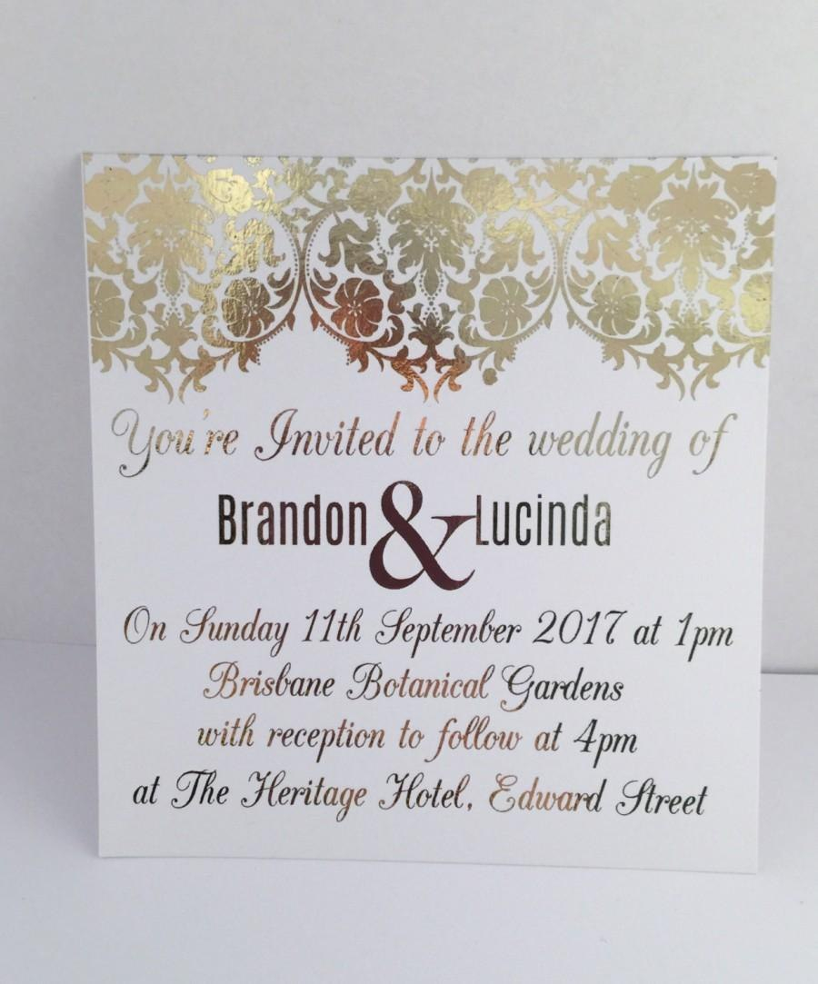 Gold Foil Wedding Invitation Set With Rsvp Card Sample Damask For Engagement Invi Foil Wedding Invitations Marriage Invitation Card Engagement Invitation Cards