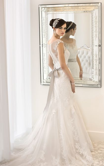 Romantic Regency Organza wedding gown with illusion neckline and back with floral lace from Essense of Australia (Style D1562)