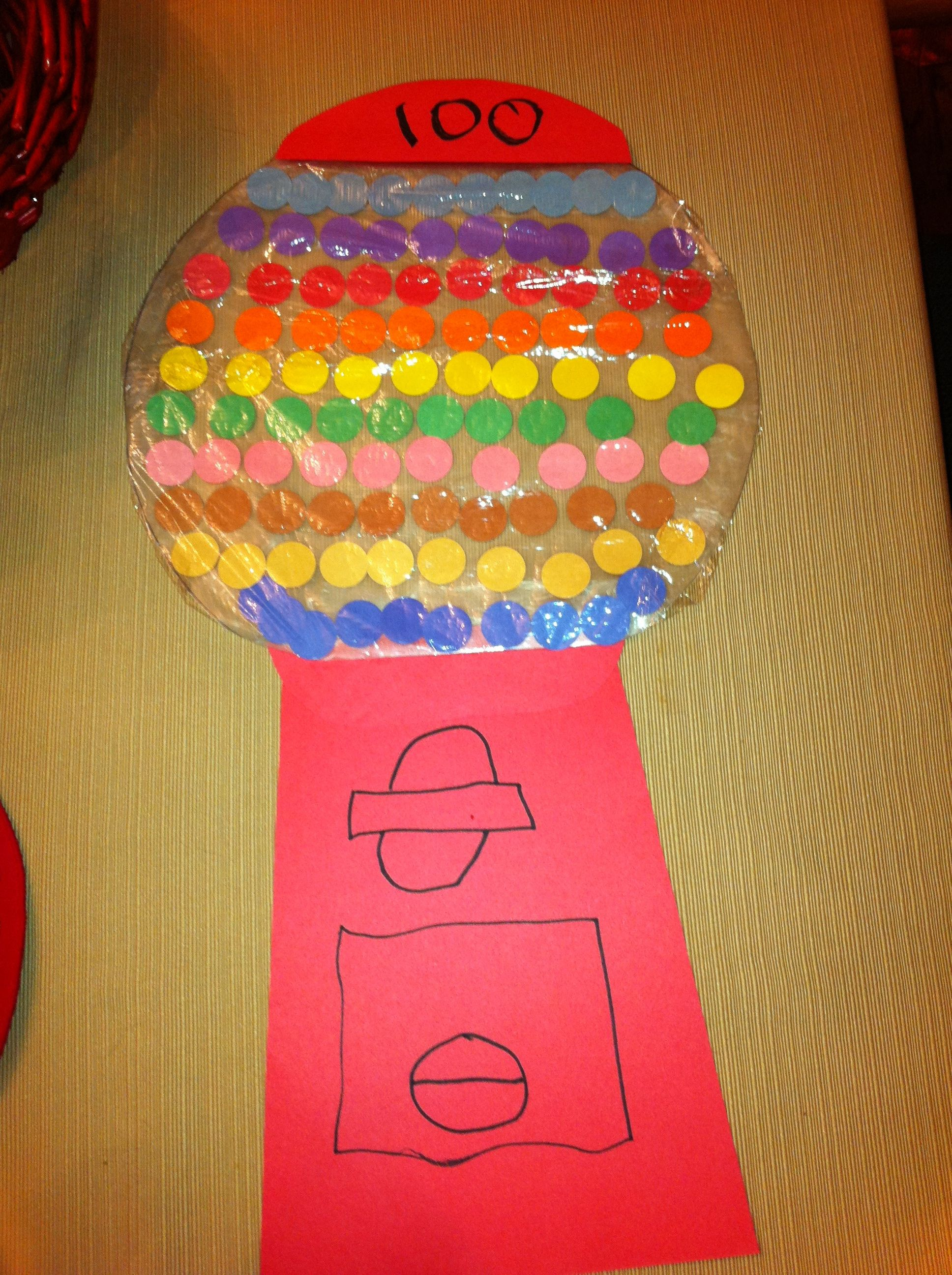 Katelyn S Pre K 100 Day Project Gumball Machine With 100