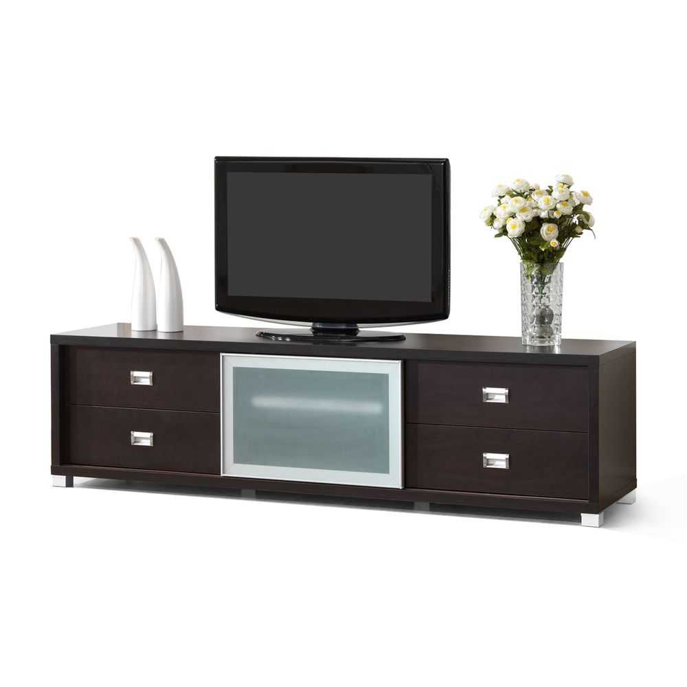 Botticelli Brown Modern TV Stand with Frosted Glass Door | Overstock.com Shopping - Great Deals on Baxton Studio Entertainment Centers