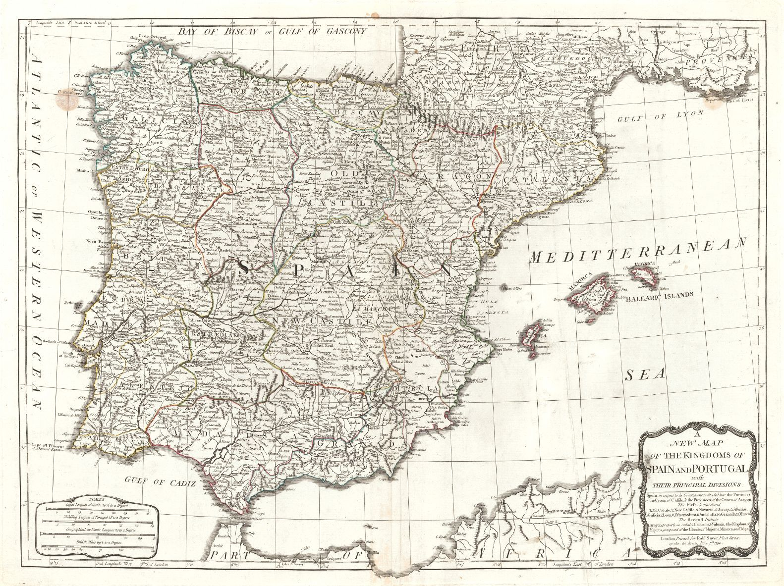 A New Map of the Kingdoms of Spain and Portugal with their