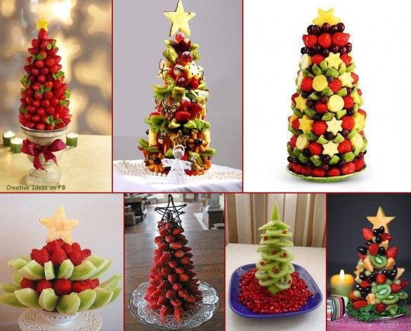 These look really neat (and yummy) :) 10 Christmas creative fruits arrangements ideas - fancy-edibles.com