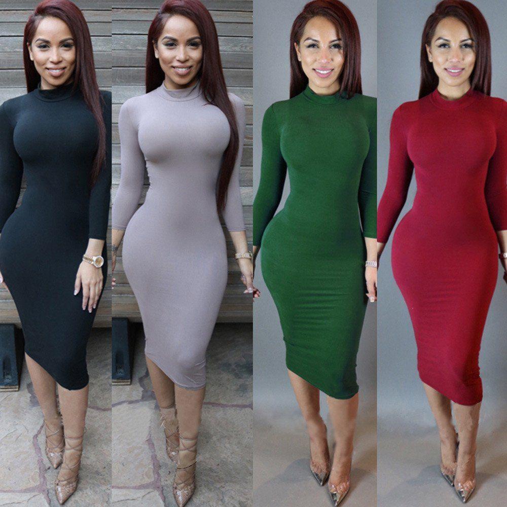 Wholesale Plain Color Autumn Winter Female Bandage Dresses Long ...