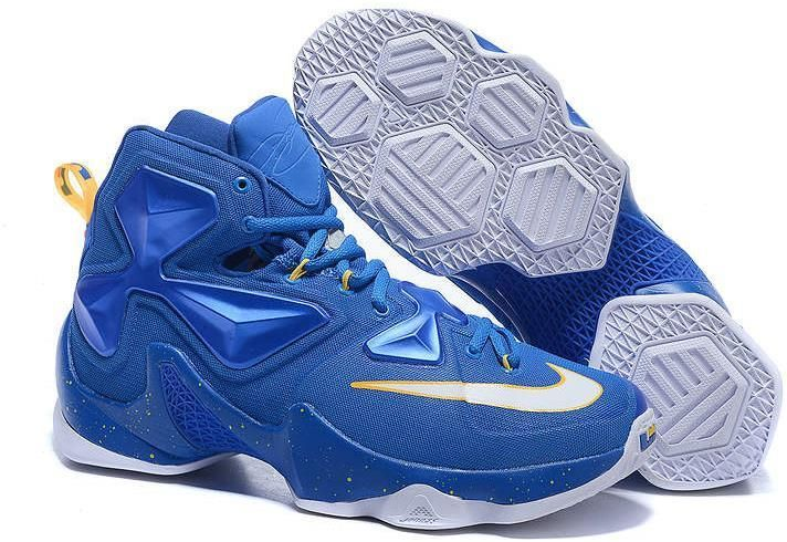 71361a9041 Lebron 13 Nike Royal Blue White Yellow | Lebron 13 Mens shoes on ...