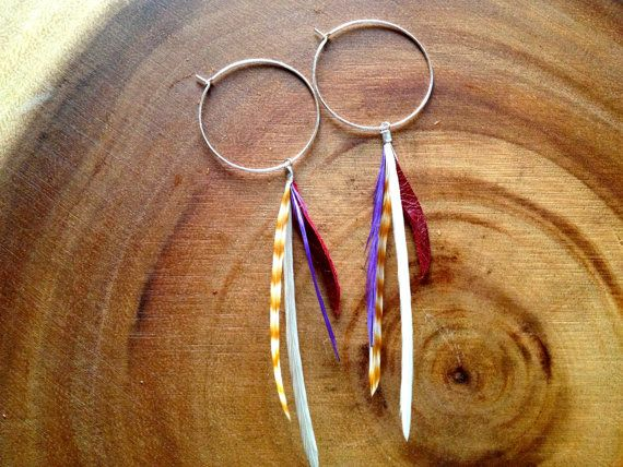 Leather & Feather Earrings by picklesandpeachesvt on Etsy