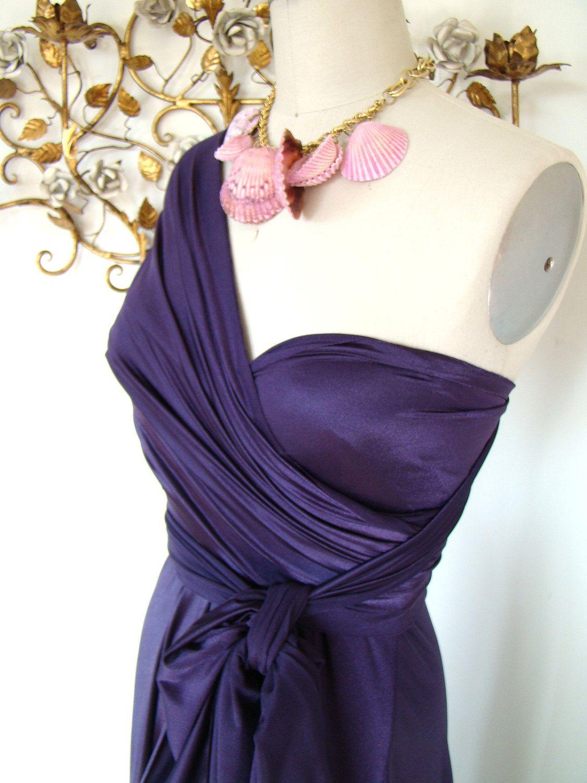 Octopus Convertible Wrap Dress- Sea Star Plum Satin. $79.99, via Etsy.
