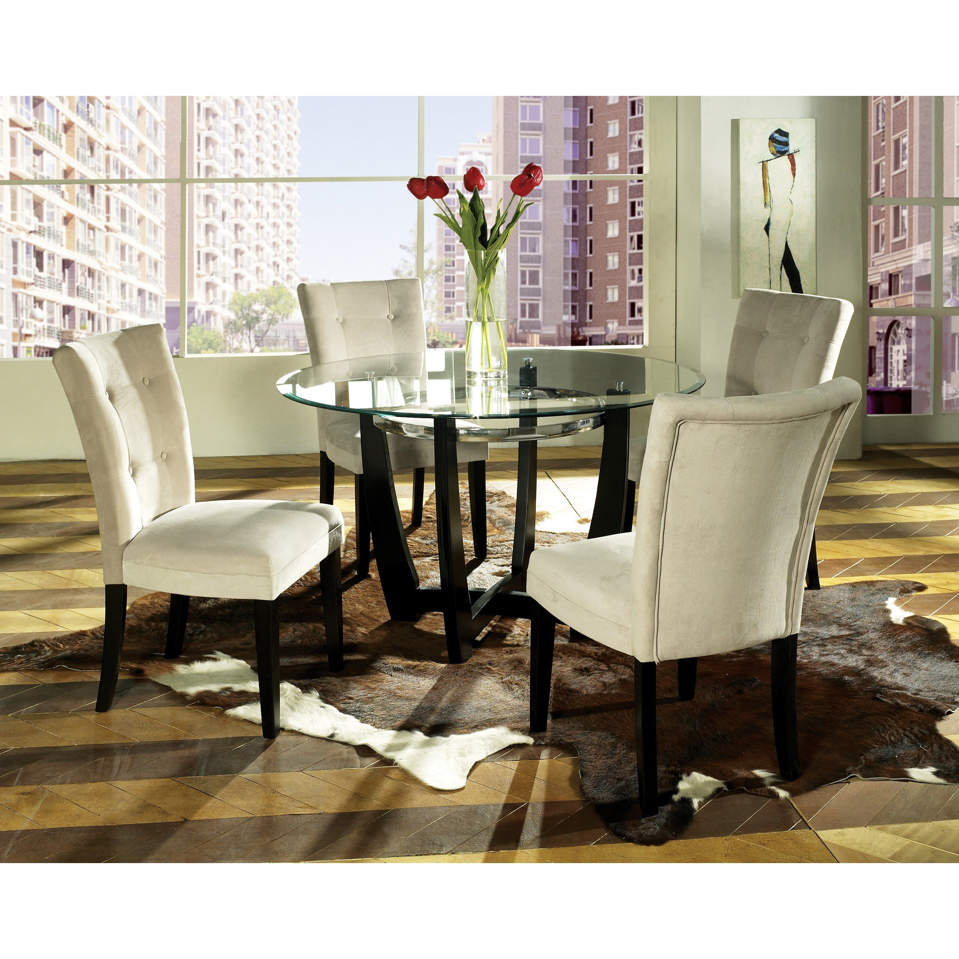 Steve silver matinee 5 piece glass dining table set contemporary design gets a little cozy in the steve silver matinee 5 pc glass dining table set
