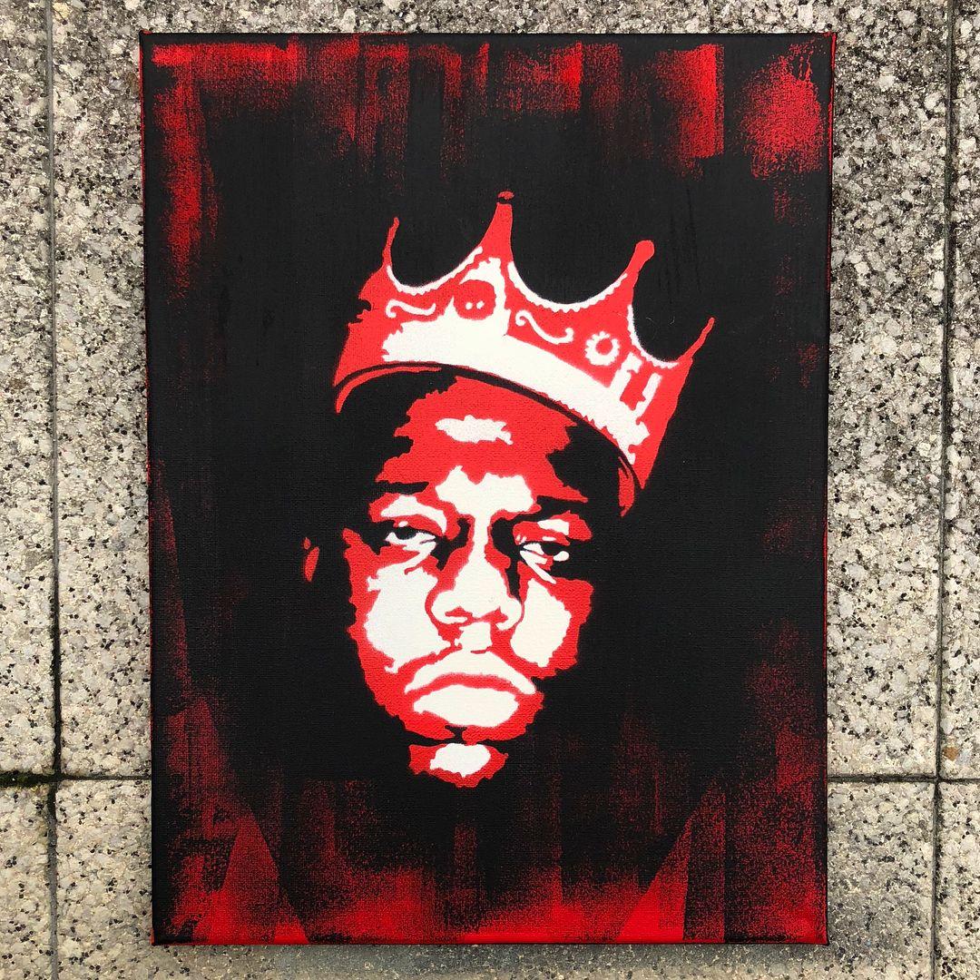 Notorious B I G Stencil Art Graffiti Painting