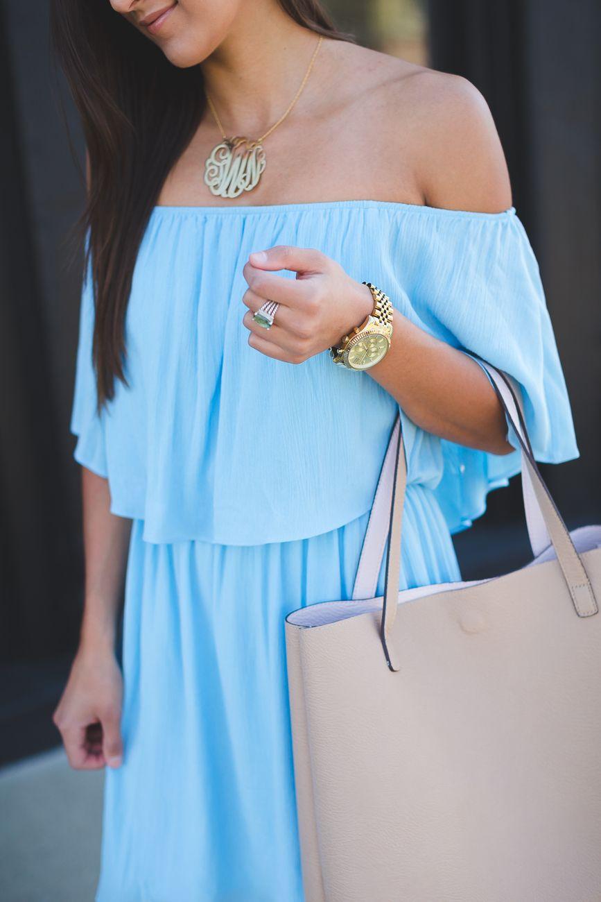 Feminine Off the Shoulder Dress | Gold monogram necklace, Shoulder ...