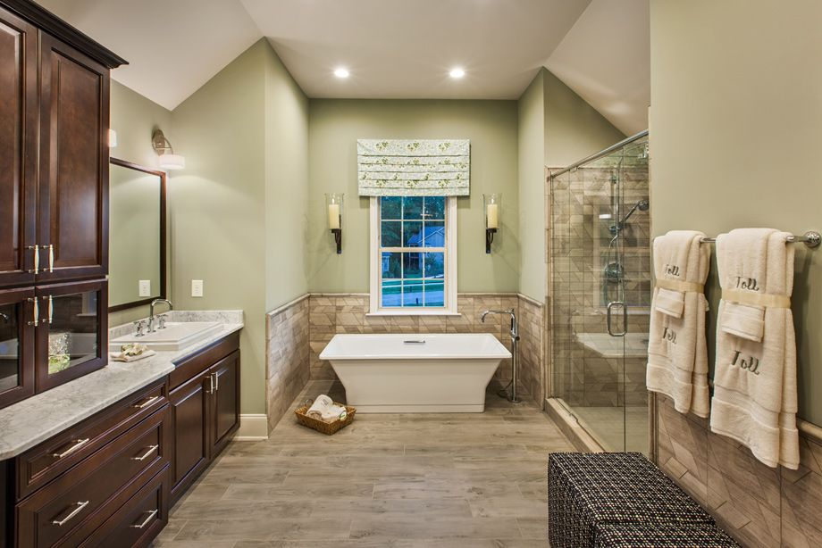 Bathroom floor plan from model home toll brothers for Model home bathrooms
