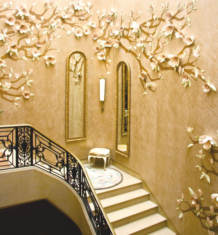 Charming Ceramic Flower Wall Art Decorating Ideas In Staircase Modern  Design Ideas With Charming Gold Accents Interior Wallpaper Landing Staircase  Wall ...