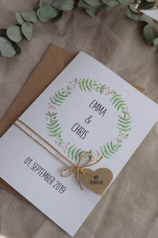 Hochzeitskarten Hochzeitseinladung Wald Liebe Vintage Style Ein