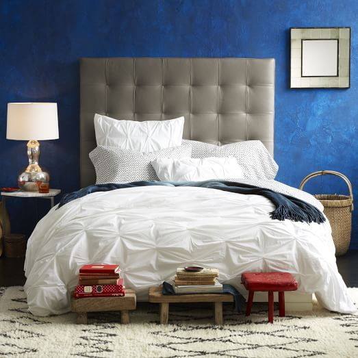 Tall Leather Grid-Tufted Headboard | west elm | Beds, Sofa & Chairs ...
