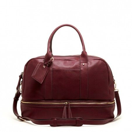 Women's Oxblood Faux Leather Oversized Travel Satchel | Mason by Sole Society