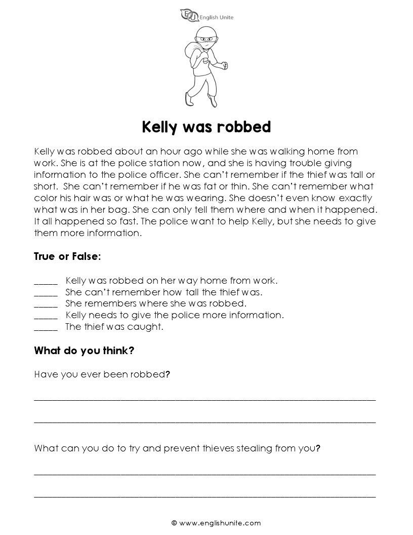 - Short Story - Kelly Was Robbed Teaching Reading Comprehension