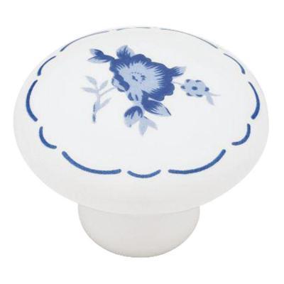 White With Blue Flower Ceramic Cabinet Knob