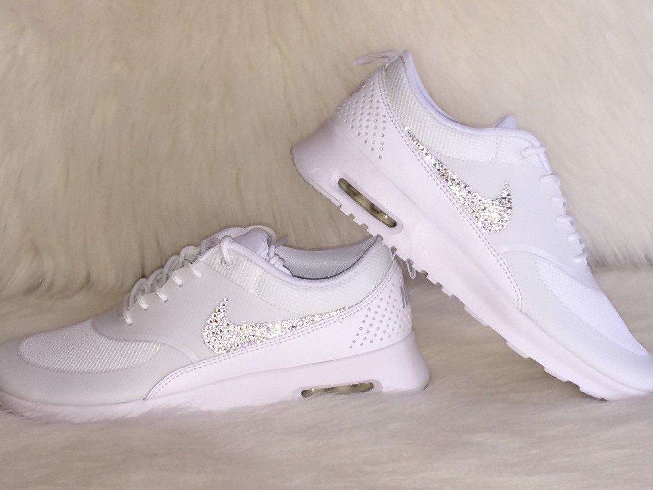 NEW just IN HOT Sale Women's Nike Air Max Thea Running Shoes white on white  Bling shoes swarovski crystals wedding dance shoes gorgeous