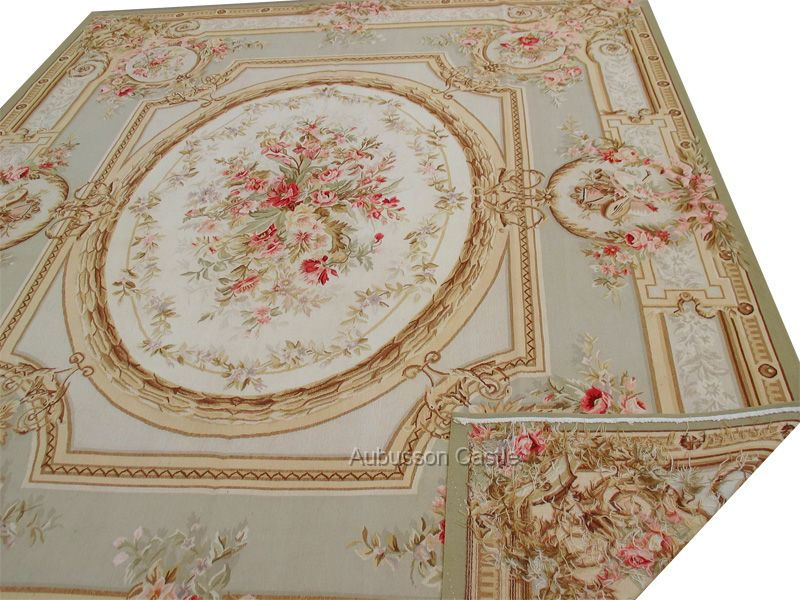 9u0027 x 12u0027 aubusson rug w pink roses u0026 faded pastel blue - Aubusson Rugs