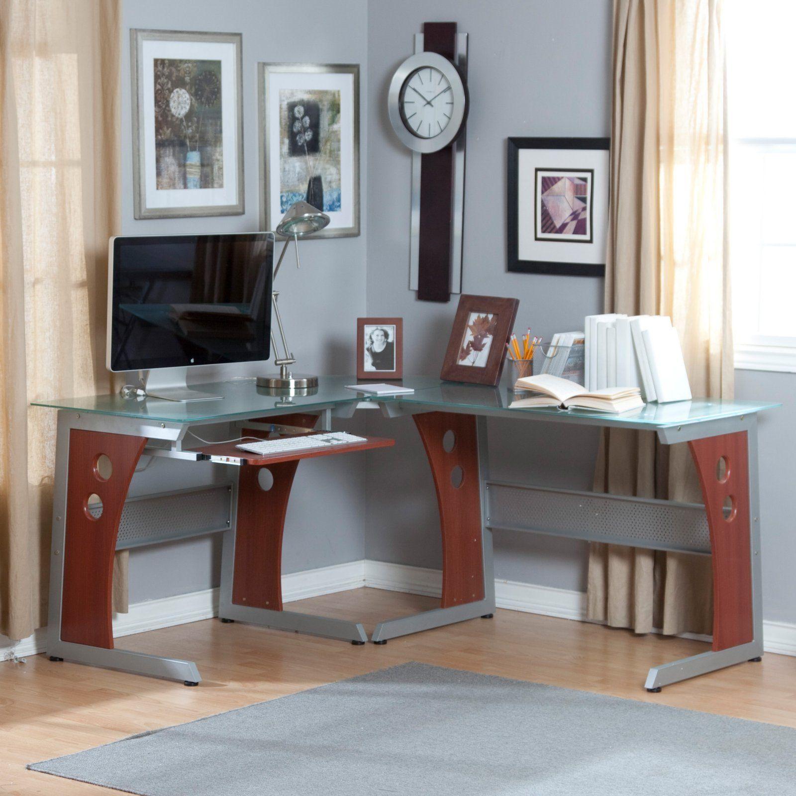 Glass Top Home Office Desk Contemporary Design Popular Of Small