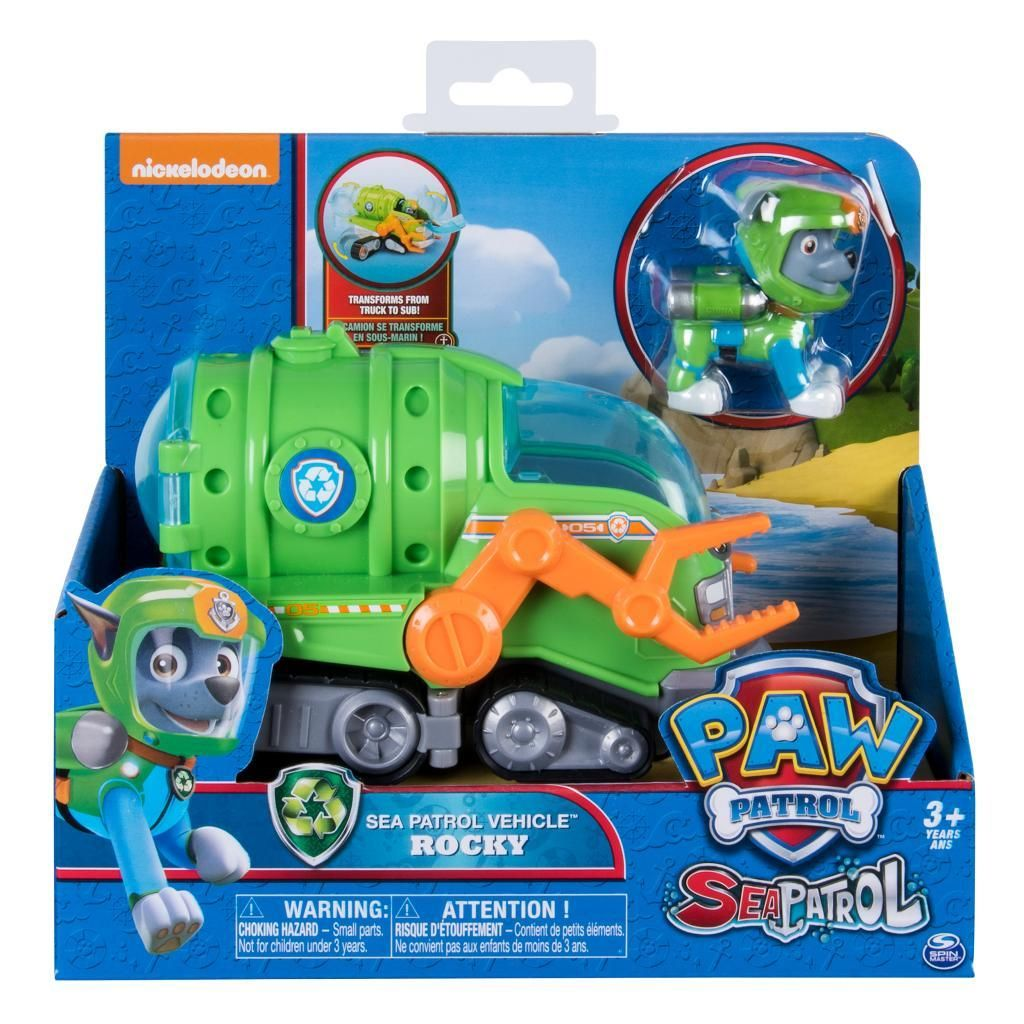 Paw Patrol Sea Patrol Action Figure And Vehicle Set Rocky 6028283 Paw Patrol Toys Paw Patrol Paw Patrol Gifts