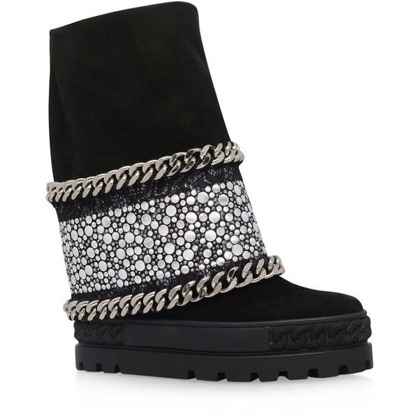 Casadei Chaucer Chain Trim Studded Wedge Boots (4,690 SAR) ❤ liked on  Polyvore featuring