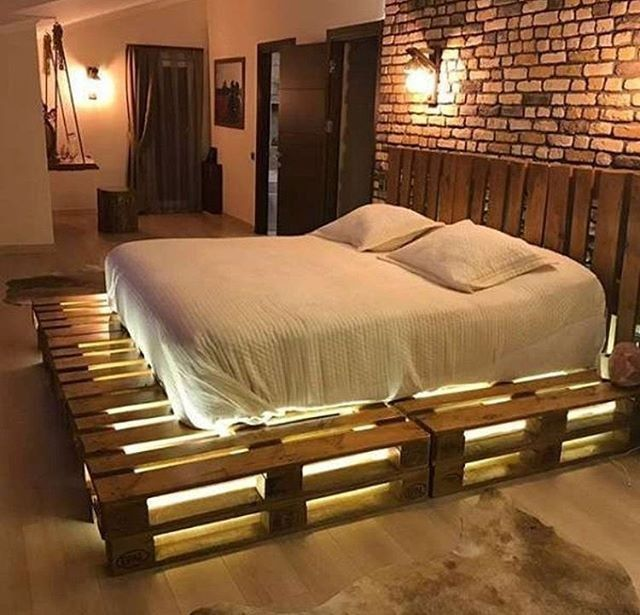 Pallet glowing bed home decor diy furniture bedroom also best architecture interiors images in storey house rh pinterest