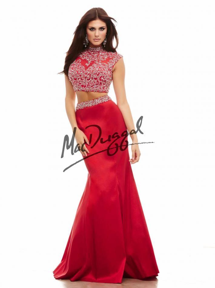 b51bbeebb5ec1 Embellished Two Piece Prom Dress   Red Prom Dress   Sparkling Crop Top   Mac  Duggal 65245A