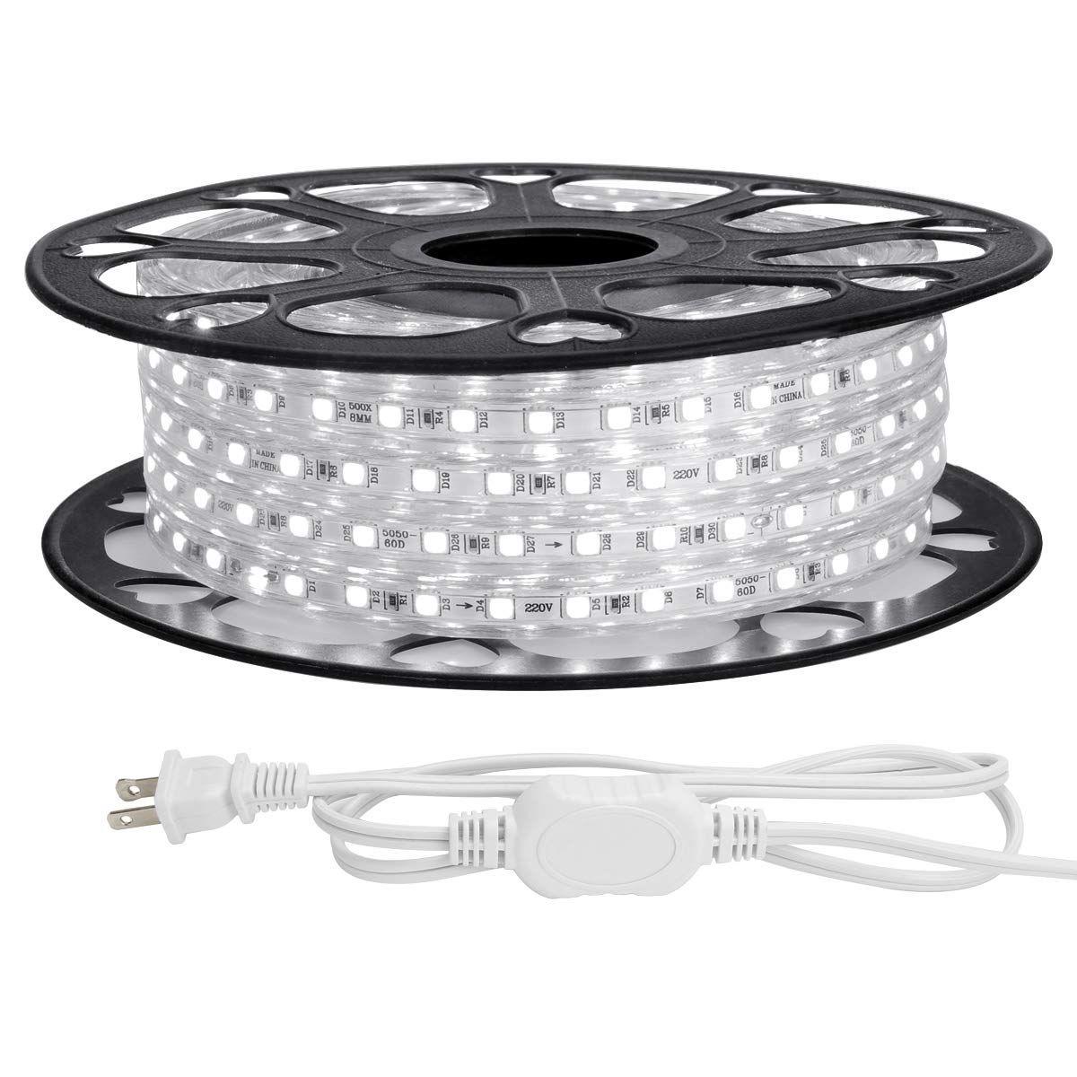 Le 49ft Led Strip Lights 120 Volt 115w 900 Smd 5050 Leds Waterproof Flexible Daylight White Etl Listed Indoor Outdoor L Led Rope Lights Strip Lighting Led Curtain Lights
