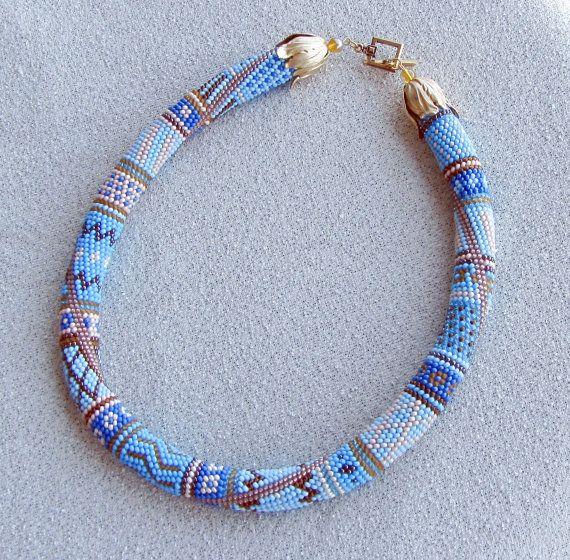 """Perlen häkeln Halskette """"Ocean""""                                                                                                                                                      Mehr"""